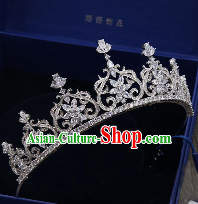 Handmade Baroque Bride Zircon Royal Crown Wedding Queen Hair Jewelry Accessories for Women