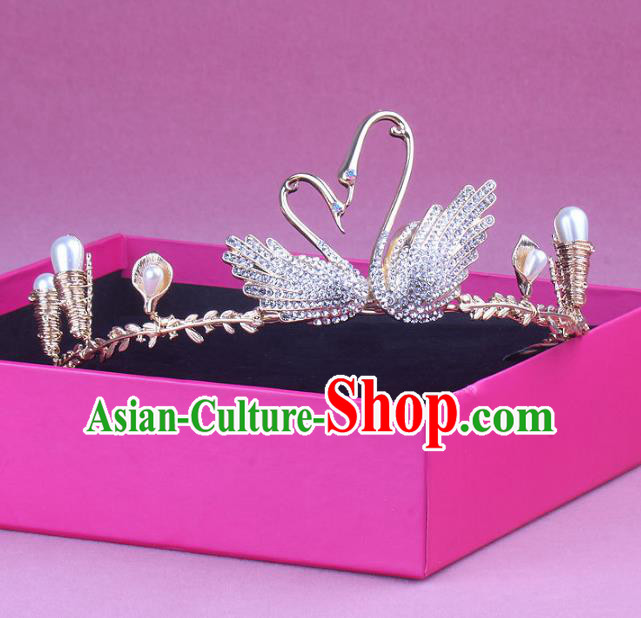 Handmade Baroque Bride Zircon Swan Royal Crown Wedding Queen Hair Jewelry Accessories for Women