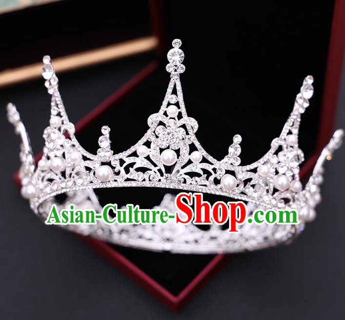 Handmade Baroque Bride Zircon Pearls Royal Crown and Earrings Wedding Queen Hair Jewelry Accessories for Women