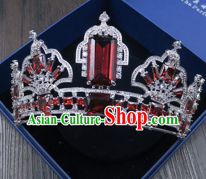 Handmade Baroque Bride Baroque Red Crystal Royal Crown Wedding Queen Hair Jewelry Accessories for Women