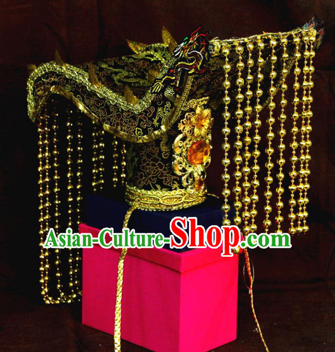 Chinese Ancient Handmade Emperor Royal Coronet Tassel Hat Hair Accessories Headwear for Men