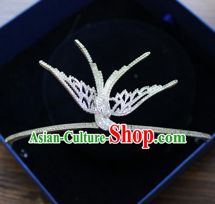 Handmade Bride Baroque Zircon Bird Royal Crown Wedding Queen Hair Jewelry Accessories for Women