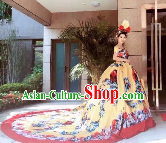 Top Grade Catwalks Costume Stage Performance Model Show Yellow Trailing Dress for Women