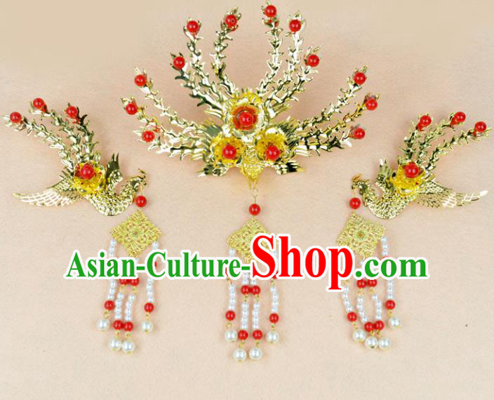 Chinese Ancient Handmade Golden Step Shake Phoenix Hairpins Bride Hair Accessories Headwear for Women