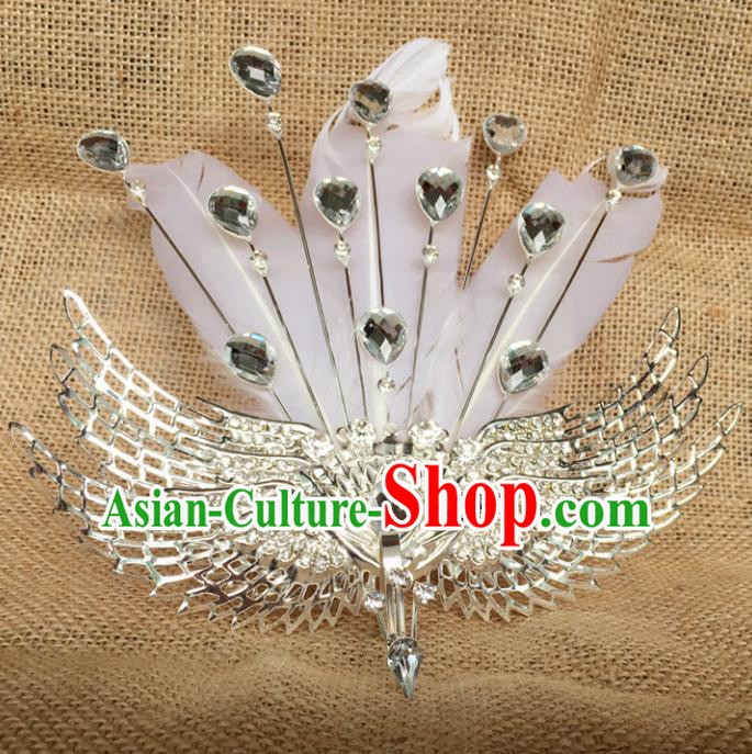 Chinese Ancient Handmade White Feather Phoenix Hair Comb Hairpins Bride Hair Accessories Headwear for Women