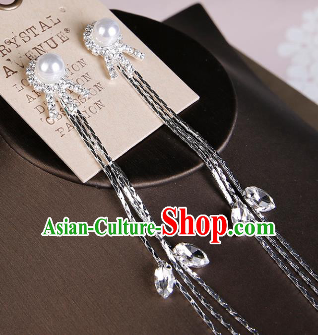 Top Grade Handmade Jewelry Accessories Bride Crystal Pearls Earrings for Women
