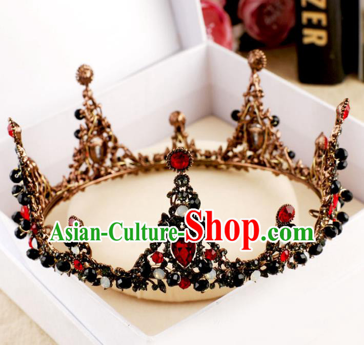 Handmade Baroque Queen Red Crystal Round Royal Crown Wedding Bride Hair Jewelry Accessories for Women