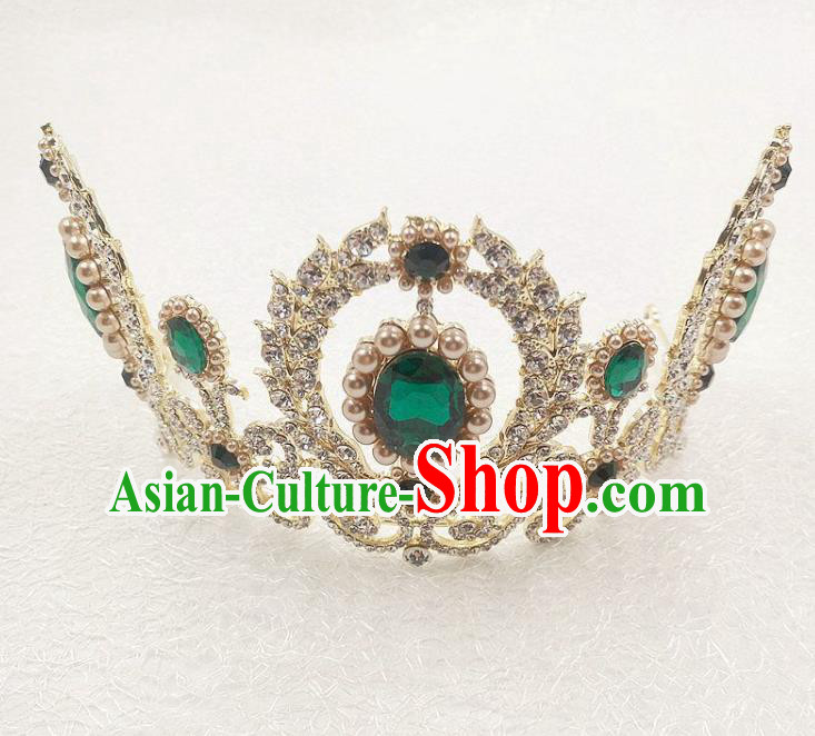 Handmade Baroque Queen Green Crystal Royal Crown Wedding Bride Hair Jewelry Accessories for Women