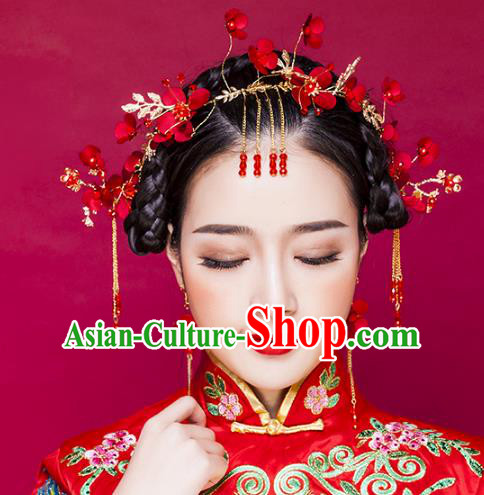 Chinese Ancient Handmade Red Flowers Hair Clasp Hairpins Bride Hair Accessories Headwear for Women
