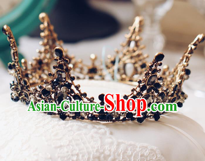 Handmade Wedding Baroque Queen Black Round Royal Crown Bride Hair Jewelry Accessories for Women
