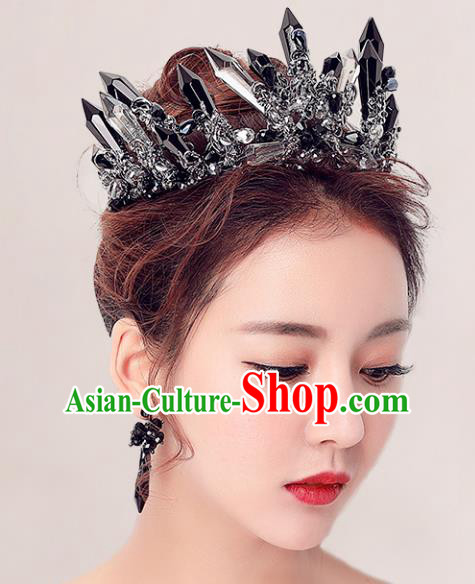 Handmade Baroque Bride Baroque Black Crystal Royal Crown Wedding Queen Hair Jewelry Accessories for Women