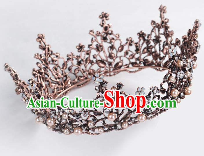 Top Grade Handmade Baroque Bride Black Round Royal Crown Wedding Hair Jewelry Accessories for Women