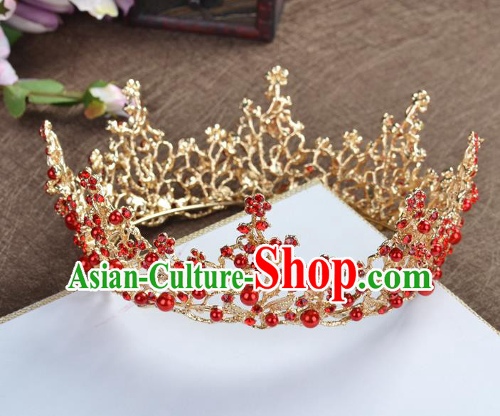Top Grade Handmade Baroque Bride Red Round Royal Crown Wedding Hair Jewelry Accessories for Women