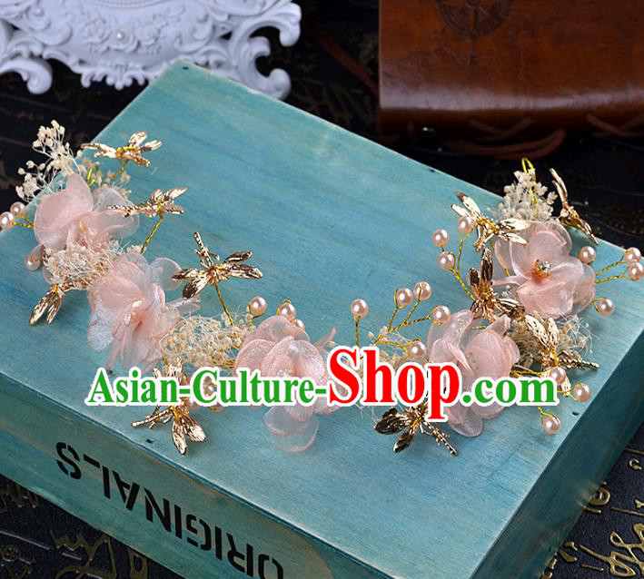 Handmade Baroque Bride Pink Flowers Dragonfly Hair Clasp Wedding Hair Jewelry Accessories for Women