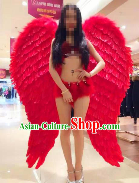 Top Grade Catwalks Swimsuit Red Feather Wing Stage Performance Customized Rio Carnival Feather Prop for Women