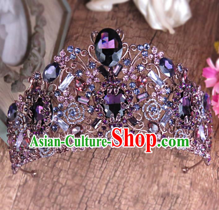 Top Grade Handmade Baroque Bride Purple Crystal Royal Crown Wedding Hair Jewelry Accessories for Women