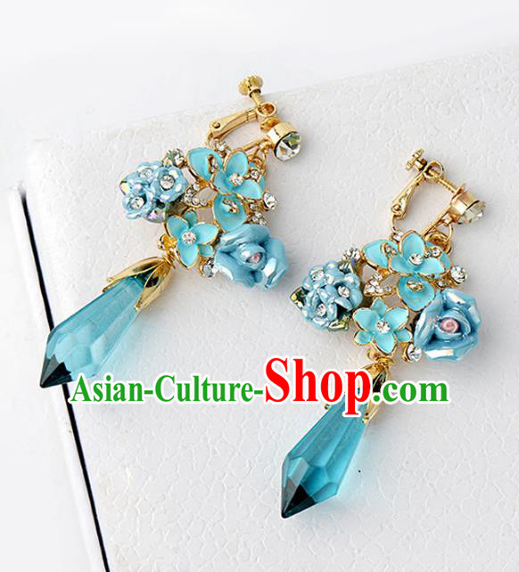 Top Grade Handmade Chinese Wedding Jewelry Accessories Bride Green Crystal Earrings for Women