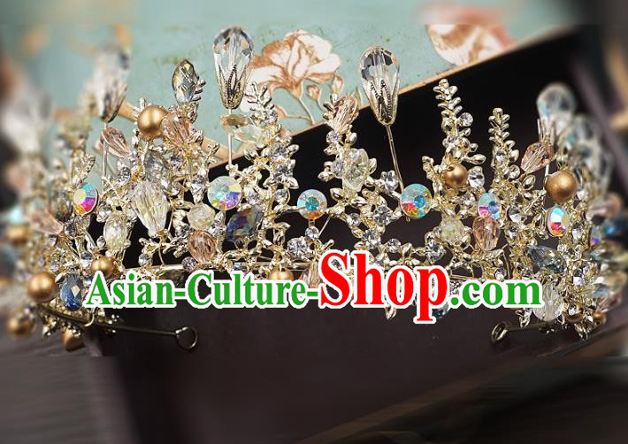 Top Grade Handmade Baroque Royal Crown Wedding Bride Hair Jewelry Accessories for Women
