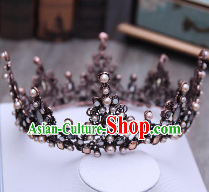 Top Grade Handmade Baroque Black Royal Crown Wedding Bride Hair Jewelry Accessories for Women
