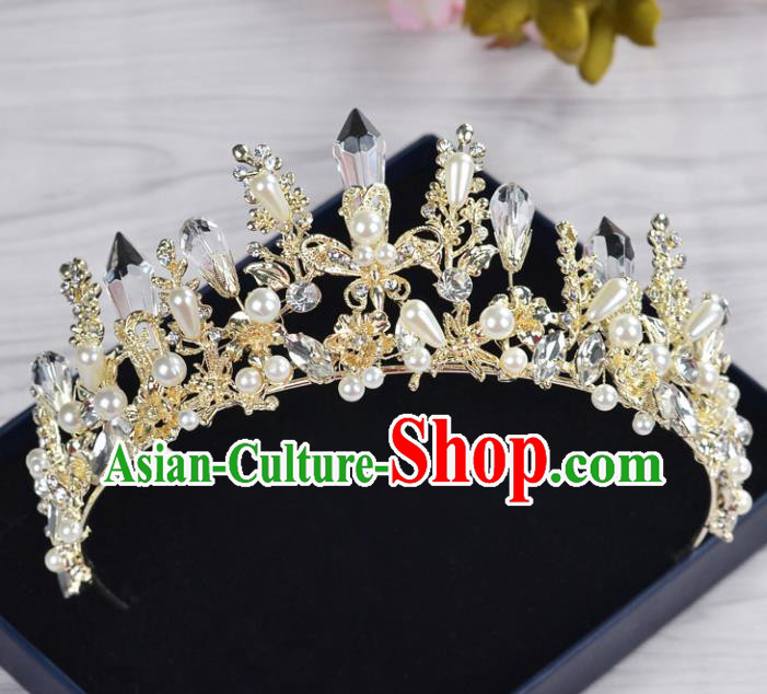 Handmade Wedding Baroque Queen Golden Crystal Pearls Royal Crown Bride Hair Jewelry Accessories for Women