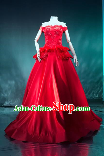 Top Grade Catwalks Costume Stage Performance Model Show Red Dress for Women