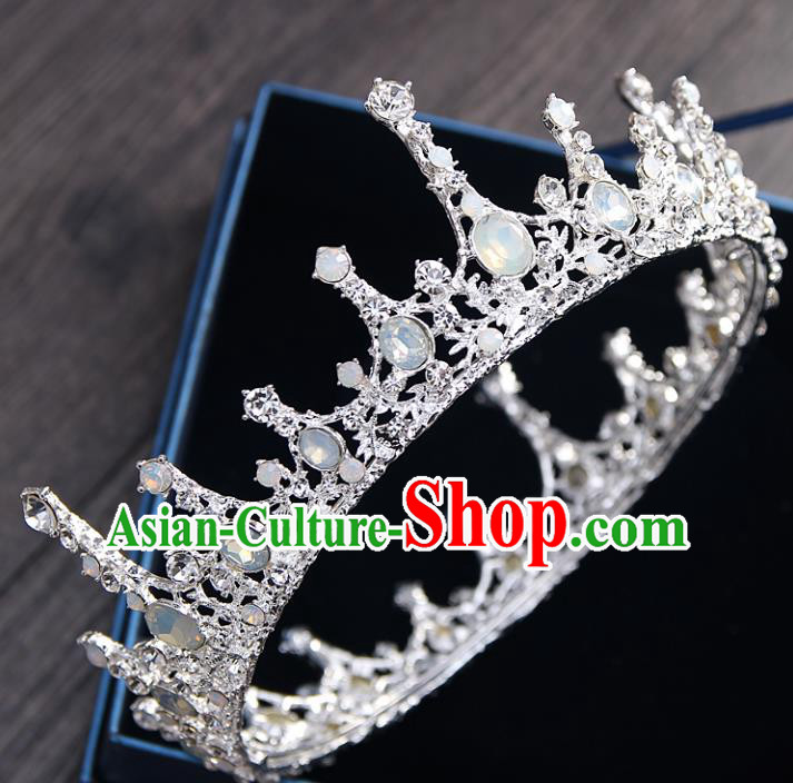 Top Grade Handmade Wedding Baroque Queen Opal Round Royal Crown Bride Hair Jewelry Accessories for Women