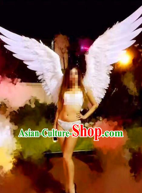Top Grade Catwalks Swimsuit White Feather Wing Stage Performance Customized Rio Carnival Feather Prop for Women