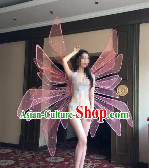Top Grade Catwalks Swimsuit Wing Stage Performance Model Show Customized Pink Wings for Women