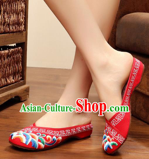 Chinese Ancient Handmade Embroidered Shoes Embroidery Red Cloth Shoes for Women