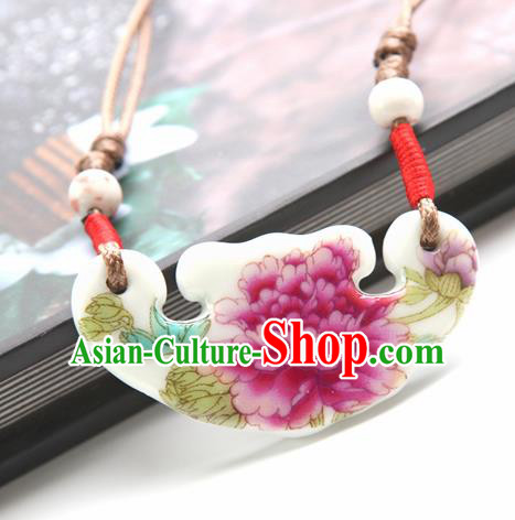Top Grade Chinese Handmade Printing Peony Jingdezhen Ceramics Necklace for Women