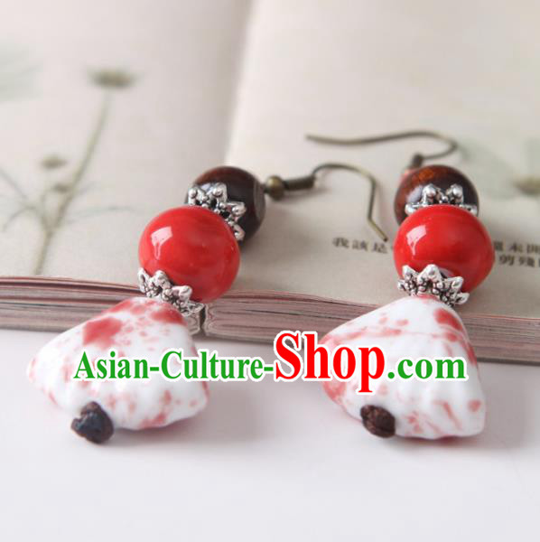 Top Grade Chinese Handmade Red Ceramics Earrings for Women