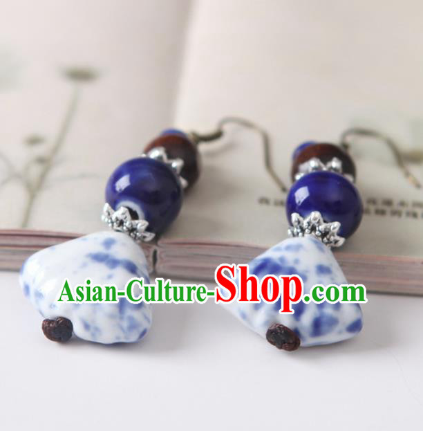 Top Grade Chinese Handmade Blue Ceramics Earrings for Women
