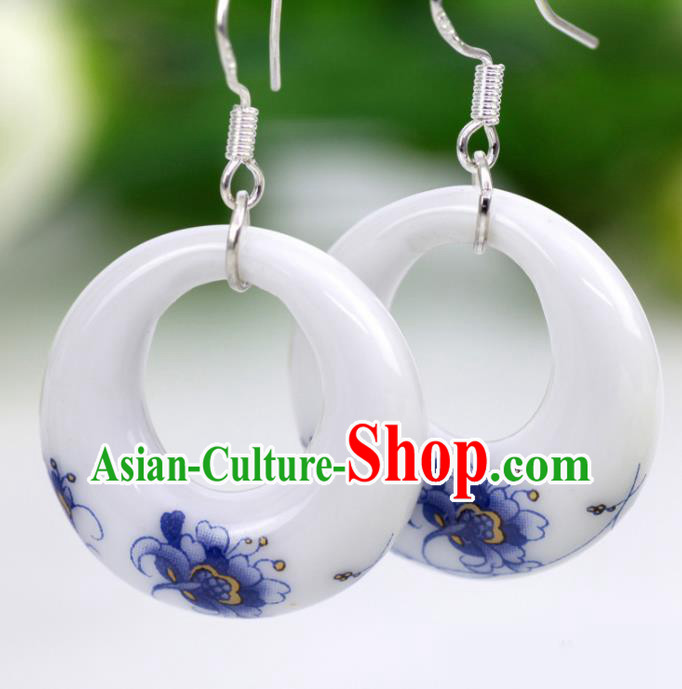 Top Grade Chinese Handmade Printing Peony Ceramics Earrings for Women