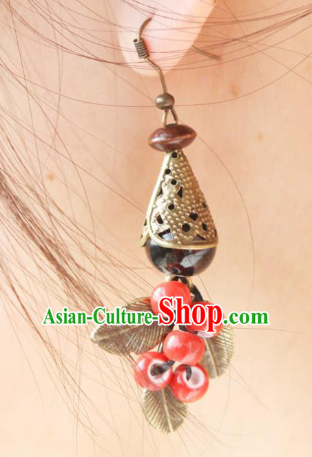 Top Grade Chinese Handmade Red Ceramics Beads Earrings for Women