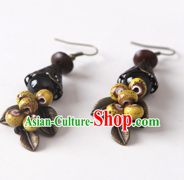 Top Grade Chinese Handmade Yellow Ceramics Beads Earrings for Women