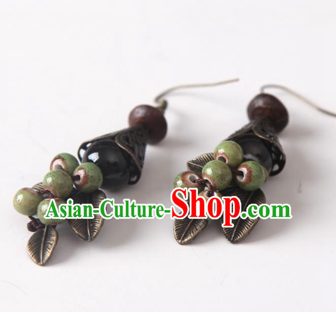 Top Grade Chinese Handmade Green Ceramics Beads Earrings for Women