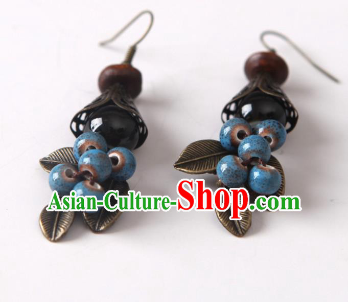Top Grade Chinese Handmade Blue Ceramics Beads Earrings for Women