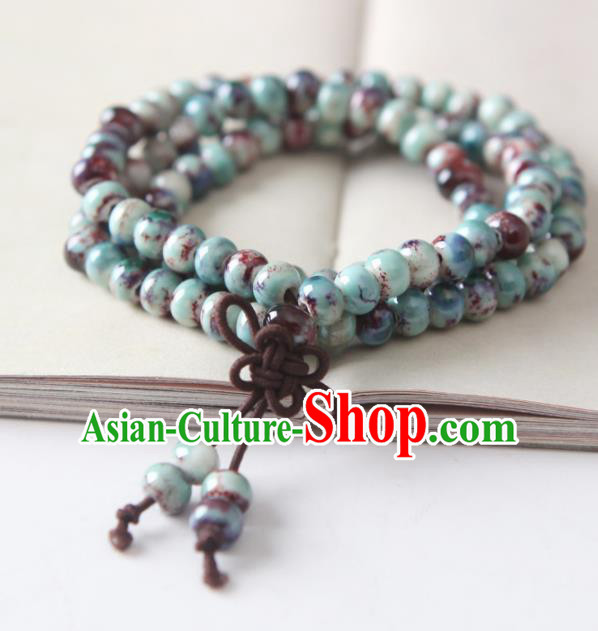Top Grade Chinese Handmade Blue Ceramics Beads Bracelet for Women