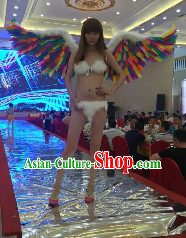 Top Grade Catwalks Swimsuit Wing Stage Performance Model Show Customized Colorful Feather Wings for Women