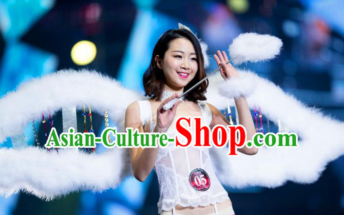 Top Grade Catwalks Swimsuit Wing Stage Performance Model Show Customized White Feather Wings for Women