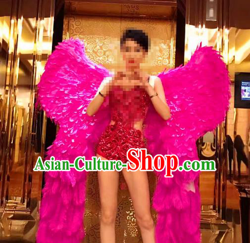 Top Grade Catwalks Miami Deluxe Rosy Feather Wings Stage Performance Model Show Customized Wings for Women