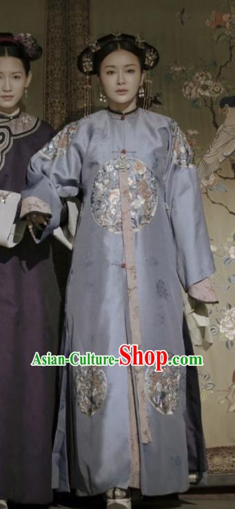 Ancient Story of Yanxi Palace Traditional Chinese Qing Dynasty Imperial Empress Embroidered Costumes and Headpiece for Women