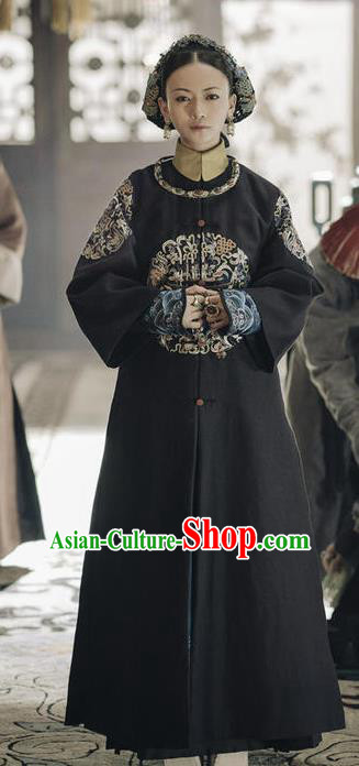 Story of Yanxi Palace Traditional Chinese Ancient Qing Dynasty Imperial Noble Consort Ling Embroidered Costumes and Headpiece for Women