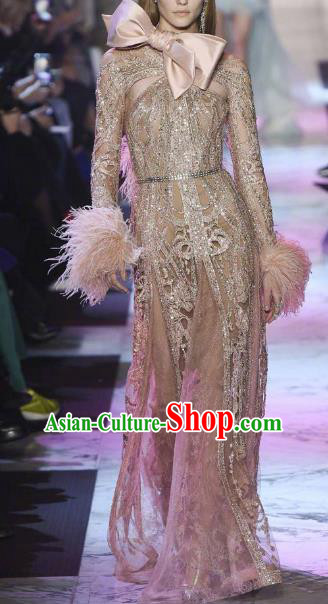 Top Grade Catwalks Costume Stage Performance Model Show Pink Feather Dress for Women