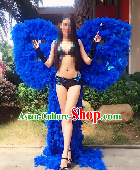 Top Grade Catwalks Miami Deluxe Royalblue Feather Wings Stage Performance Model Show Customized Wings for Women