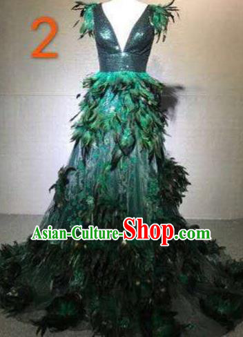 Top Grade Catwalks Costume Stage Performance Model Show Customized Green Feather Dress for Women
