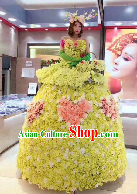 Top Grade Catwalks Costume Stage Performance Model Show Flower Fairy Yellow Dress for Women