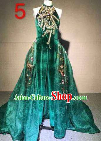 Top Grade Catwalks Customized Costume Stage Performance Model Show Green Velvet Dress for Women