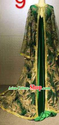 Top Grade Catwalks Customized Costume Green Dress Stage Performance Model Show Clothing for Women