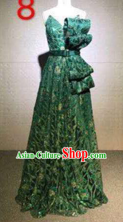 Top Grade Catwalks Customized Costume Stage Performance Model Show Green Lace Dress for Women